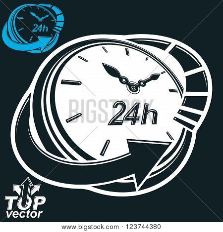 Black and white 3d vector 24 hours timer around-the-clock pictogram. Twenty-four hours a day conceptual stylized icon isolated on dark backdrop.