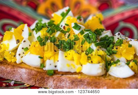 Breakfast Brunch Hard Boiled Eggs on Grilled Toast Topped with Chopped Chives, Coarse Salt and Pepper, Presented on a Colorful Orange and Red Plate
