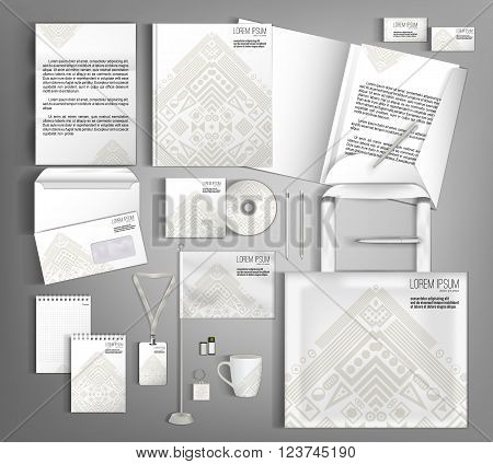 Light beige corporate identity template design with ethno pattern. Business set stationery.