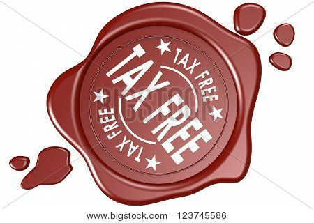 Tax free label seal isolated image with hi-res rendered artwork that could be used for any graphic design.
