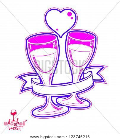 Two wineglasses vector artistic illustration, wedding couple conceptual graphic object. Celebration theme, stylized goblet with loving hearts and beautiful ribbon.
