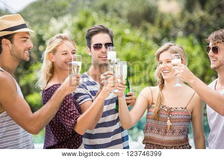 Group of happy friends toasting champagne flute outdoors