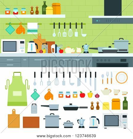 Cooking tools vector flat illustrations. Kitchen with modern cooking equipment, products on the shelves. Cooking at home concept. Pots, kettle, spices and othe cooking utensils isolated on white background