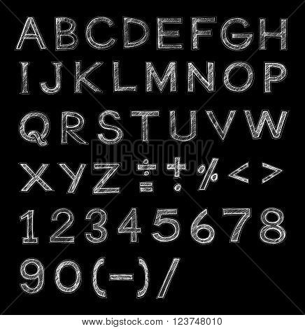 English font freehand alphabet pencil sketch art character design and symbol on Black background