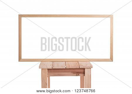 Blank of wooden frame isolated on white background