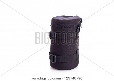 Black Soft Case For Lens Digital Camera Isolated On White
