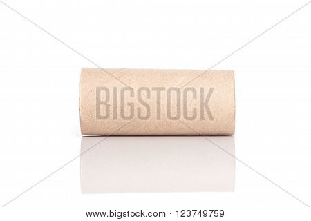 Paper Tube Of Toilet Paper Isolated On White
