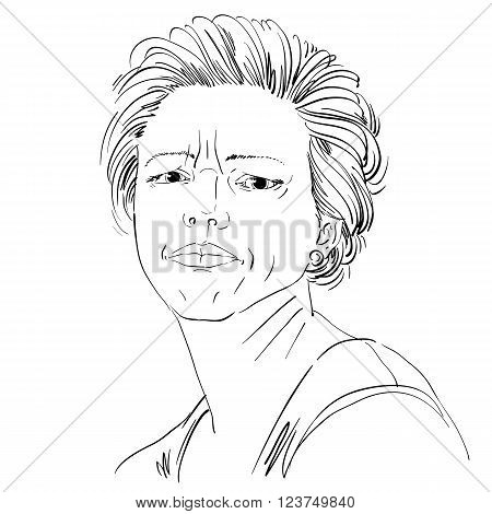 Vector drawing of angry woman with stylish haircut. Black and white portrait of attractive lady expressing doubt disbeliever.