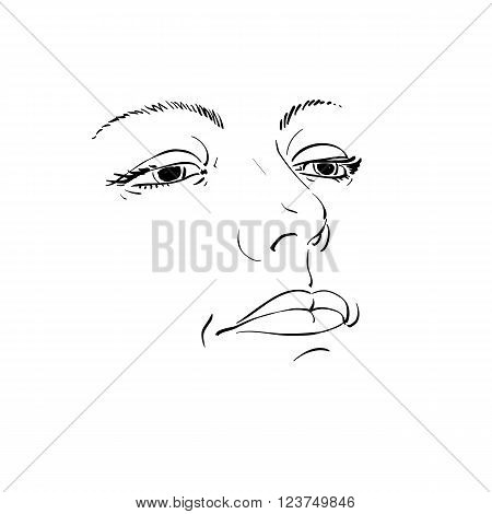 Black and white illustration of lady face delicate visage features. Eyes and lips of a sorrowful woman emotional expression.