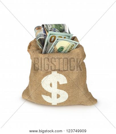dollars bills in bag isolated on white very much money concept