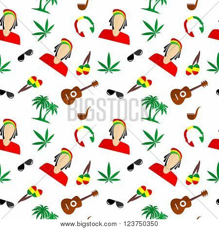 the background in the style of a flat design on the theme of Rastafarian.