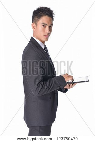 handsome young asian man using cell phone