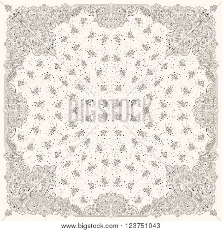 Vector ornament paisley Bandana Print, silk neck scarf or kerchief square pattern design style for print on fabric.