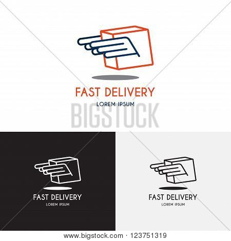 Template of logo of delivery company. Creative vector template in the form of box with wings. Vector template in the modern liner style.