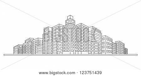 modern sity skyline against white background, vector illustration
