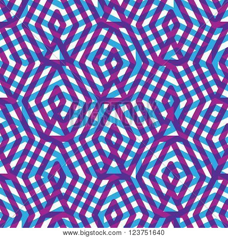 Geometric messy purple lined seamless pattern colorful maze vector endless background. Decorative net splicing motif texture. Purple decorative backdrop.