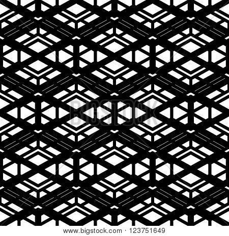 Geometric messy lined seamless pattern black vector endless background. Decorative net splicing motif texture.