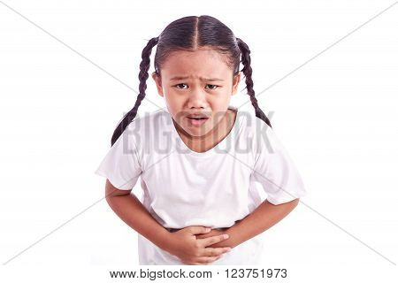 Portrait Of Young Asian Girl Isolated On White : Stomachache Concept