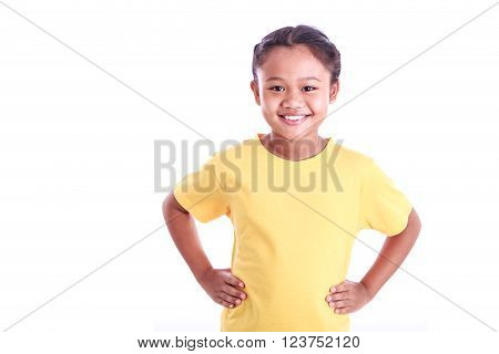 Portrait Of Young Asian Girl With Arms Akimbo Isolated On White