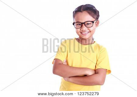 Portrait Of Young Asian Girl Wear Glasses Isolated On White