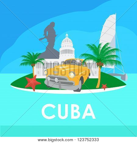 Cuba travel symbols - capitol old car palms starfish Che Guevara monument