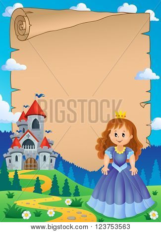 Parchment with princess near castle 1 - eps10 vector illustration.