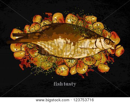 baked fish with potatoes and mushrooms freehand drawing