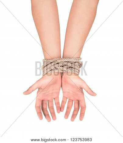 Hands with a rope wrapped around them