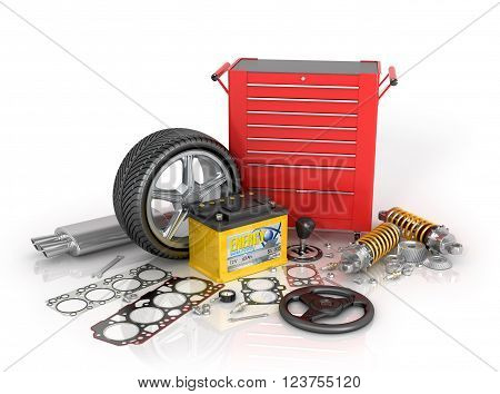 A large set of automotive parts and tool kit isolated white background.