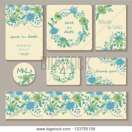 Wedding set. Wedding invitation, thank you card, save the date cards.  Turquois, blue, green and light yellow colors. Vector illustration