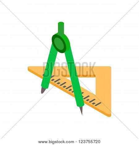 Compass and triangular ruler icon in isometric 3d style on a white background