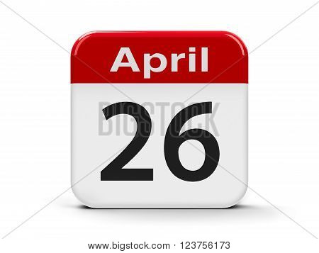 Calendar web button - Twenty Sixth of April - World Intellectual Property Day three-dimensional rendering