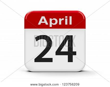 Calendar web button - Twenty Fourth of April - International Day of Youth Solidarity three-dimensional rendering