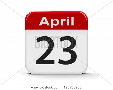 Calendar web button - Twenty Third of April - World Book and Copyright Day and English Day three-dimensional rendering