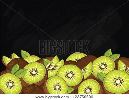 Kiwi on chalkboard background. Kiwi composition, plants and leaves. Organic food. Summer fruit. Fruit background for packaging design.