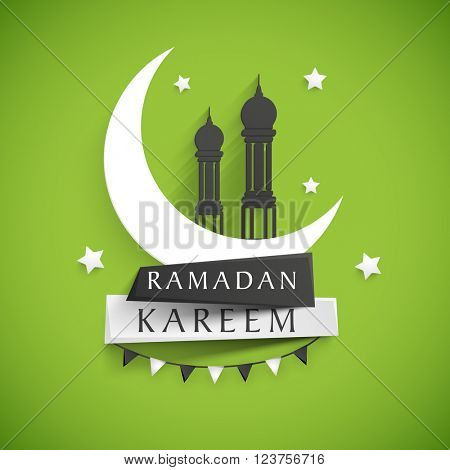 Stylish text Ramadan Kareem on paper tags with glossy crescent moon and mosque on stars decorated shiny green background for Islamic Holy Month celebration.