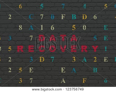 Information concept: Data Recovery on wall background
