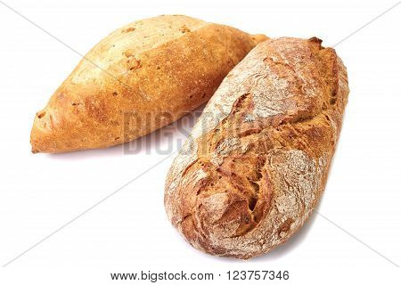 Two loaves of bread isolated on white background