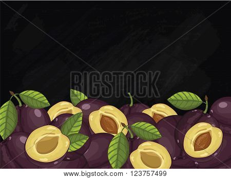 Plum on chalkboard background. Plum composition, plants and leaves. Organic food. Summer fruit. Fruit background for packaging design.