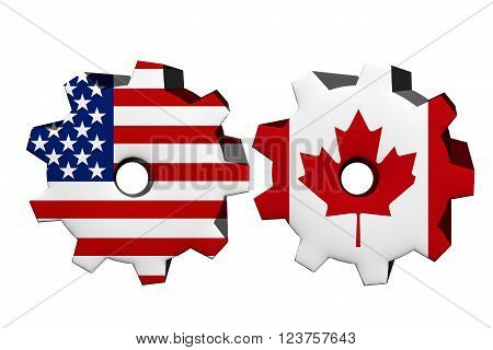 The United States of America and Canada working together, Two cogwheels with a flag of the United States and Canada isolated on white