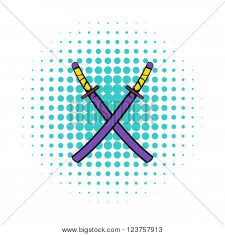 Japanese kendo sword icon in comics style on a white background
