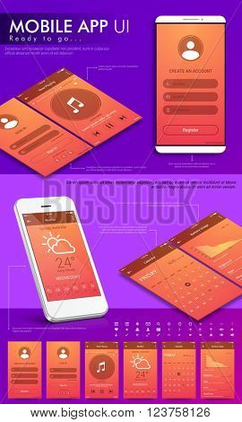 Material Design UI, UX, GUI template layout and flat web icons for mobile apps, responsive website with Create Account, Sign In, Music Player, Weather, Calendar and Battery Usage screens.