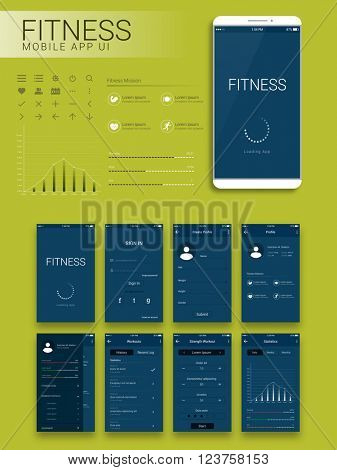 Fitness Mobile App Material Design UI, UX and GUI screens with flat web icons including Sign In, Create Profile, Workout and Statistics features for Mobile Apps and Responsive Website.