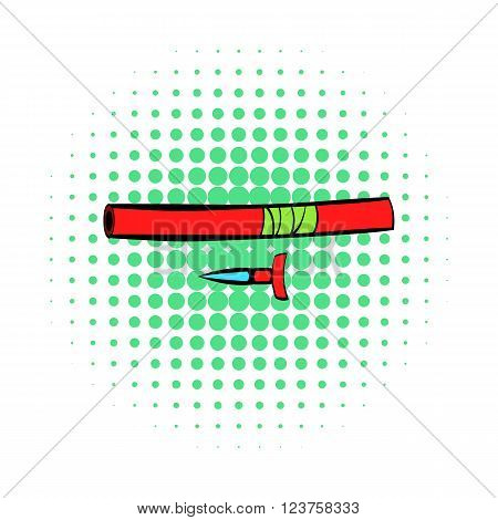Ninja weapon icon in comics style on a white background