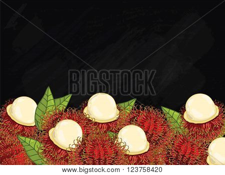 Rambutan on chalkboard background. Rambutan composition, plants and leaves. Organic food. Summer fruit. Fruit background for packaging design.