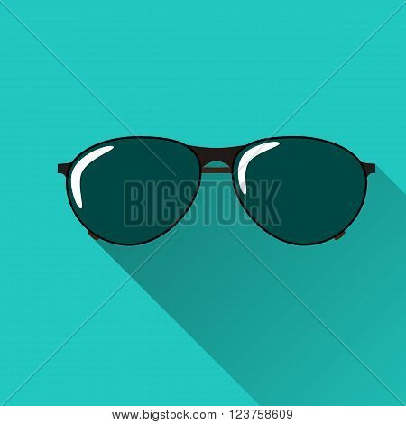Sunglasses icon with long shadow. Flat design style. Sunglasses silhouette. Simple icon. Modern flat icon in stylish colors. Web site page and mobile app design element.