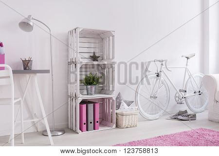 Light room with desk, standing lamp, bookcase, bike and pink carpet