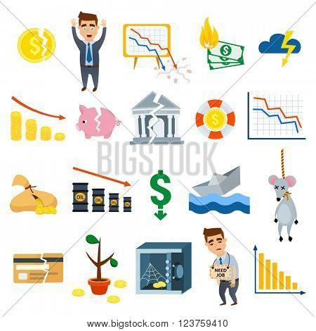 Crisis symbols business sign finance flat vector illustration symbols