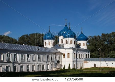 The St. Yuriev monastery, XII century, monastery in Veliky Novgorod. The Orthodox Christian Church. The Orthodox religion of Russia. The monastery's oldest Church buildings in Russia in 1030 year.