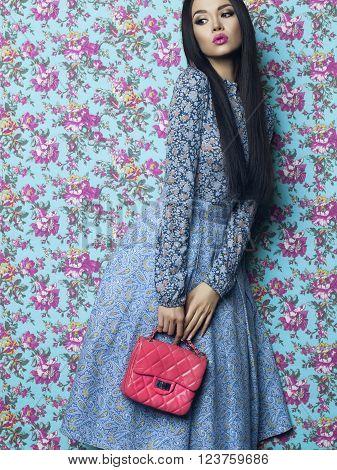 Elegant Lady On Floral Background